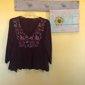 70s style floral crop shirt